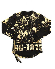 Boys - Gold Splatter Side Zip L/S Scoop Bottom Tee (8-20)