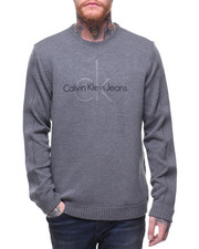 Men - CK LOGO CREW Sweatshirt w knit detail