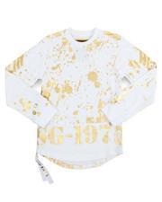 Boys - Gold Splatter Side Zip L/S Scoop Bottom Tee (8-20)