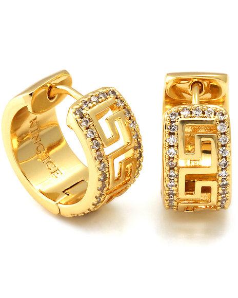 King Ice - 14K Gold Silver CZ Greek Key Hoop Earrings
