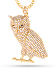 King Ice - 14K Gold Owl Necklace-2148140