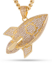 King Ice - 14K Gold Rocket Emoji Necklace