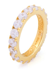 King Ice - 14K Gold .925 Sterling Silver Single Row Ring