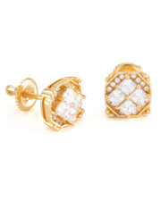 King Ice - 14K Gold Quad Earrings