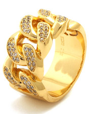 King Ice - Gold CZ Curb Chain Style Ring