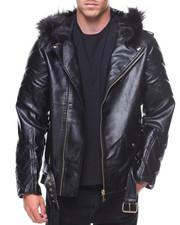 Light Jackets - Pu Jacket Faux Fur Hood