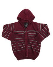 Sweatshirts & Sweaters - Marled Full-Zip Hooded Striped Sweater (2T-4T)