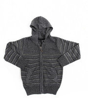 Sweatshirts & Sweaters - Marled Full-Zip Hooded Striped Sweater (4-7)
