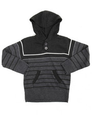 Sweatshirts & Sweaters - Multi-color Stripe Pullover Hooded Sweater (2T-4T)