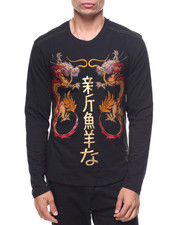 Men - L/S Studded Foil Oriental Print Tee