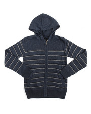 Arcade Styles - Marled Full-Zip Hooded Striped Sweater (8-20)