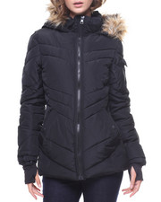 Light Jackets - Faux Fur Trim Hoodie Puffer Jacket