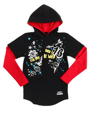 Arcade Styles - Doodle L/S French Terry Hooded Tee (8-20)
