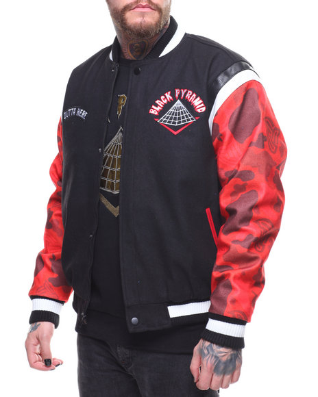 Buy Rocket Ship Varsity Jacket Men S Outerwear From Black Pyramid Find Black Pyramid Fashion
