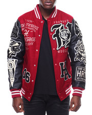Heritage America - Patches Vegan Leather Sleeves Varsity Jacket