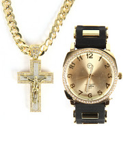 Accessories - Techno Pave Cross Necklace & Watch Set