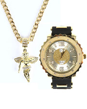 Buyers Picks - Techno Pave Round Angel Pendant & Watch Set