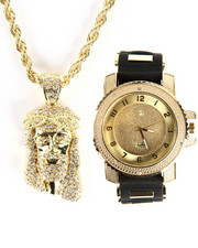 Accessories - Techno Pave Jesus Piece & Watch Set