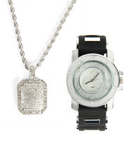 Accessories - Techno Pave Studded Necklace & Watch Set