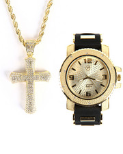 Buyers Picks - Techno Pave Double Cross & Watch Set
