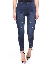 Women - Hi Waist Grommets Jeans