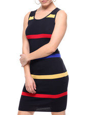 Women - S/L Stripe Sweater Dress