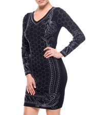 Bodycon - Crystal Detail V-neck Sweater Dress