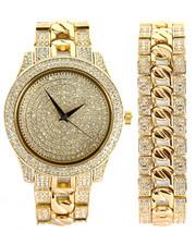 Accessories - Techno Pave Cuban Watch & Bracelet Set