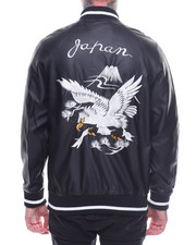 Light Jackets - Japan Embroidered Faux Leather Bomber