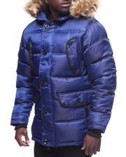 Heavy Coats - Faux Fur Hood Satin Jacket