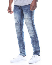 SMOKE RISE - PLEATED MOTO JEAN W PAINT SPLATTER