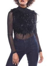 Women - L/S Sheer Feather Top