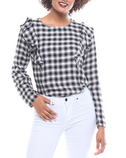 Fashion Tops - L/S Rayon Checkered Blouse Front Tunic