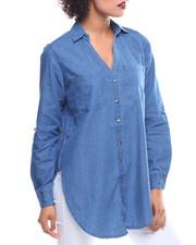Fashion Lab - Roll Sleeve Button Down Denim Boyfriend Tunic
