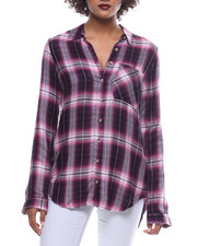 Fashion Lab - L/S 1 Pocket Plaid Flannel Split Back Shirt