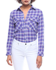 Fashion Lab - L/S Plaid Boyfriend Shirt Pockets