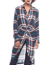Fashion Lab - L/S Rayon Plaid Twist Front Duster