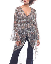 Fashion Tops - L/S Bell Sleeve Surplus Front Hi Lo Floral Duster