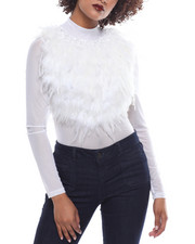 Womens New Years Eve Outfits - L/S Sheer Feather Top