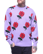 Sweatshirts & Sweaters - Allover Rose Jacquard Knit Sweater