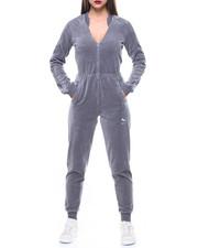 Jumpsuits - Velour V-Neck T7 Jumpsuit-2163316