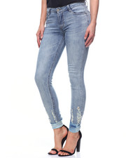 Fashion Lab - Button Cuff Hem Jean