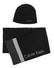 Hats - Calvin Klein Multi Stripe Hat & Scarf Set