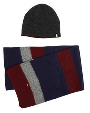 Men - Tommy Hilfiger Horizontal Stripe Hat & Scarf Set