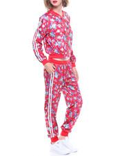 Fashion Lab - Velvet Floral Track Jacket/Jogger Set