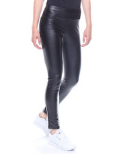 Bottoms - Faux Leather Leggings Back Pockets
