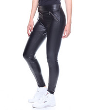 Bottoms - Faux Leather Leggings Zip Front Back Pockets