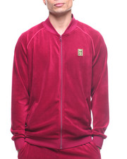 Track Jackets - Velour Piping Zip Front Jacket