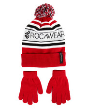 Rocawear - Knit Pom Pom Hat & Gloves Set