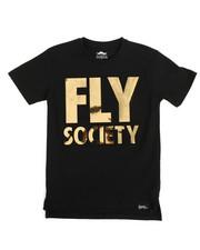 T-Shirts - S/S Embossed Mirror Metallic Logo Print Tee (8-20)
